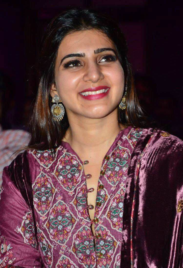 Tollywood Actress Samantha Photos In Maroon Dress At Movie Audio Launch