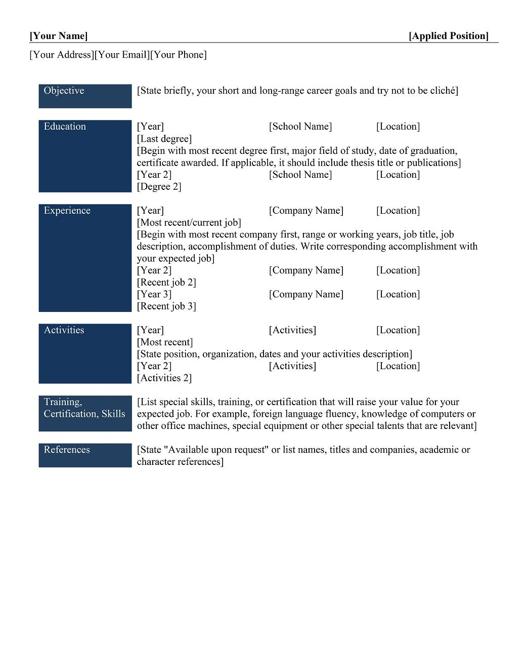different types of resume templates