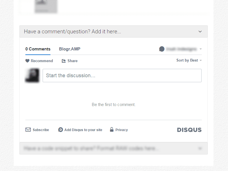 Disqus comments activated on Blogger AMP post pages