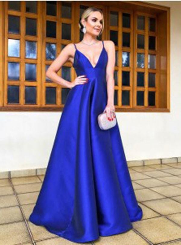A-Line Spaghetti Straps Floor Length Royal Blue Satin Prom Party Dress