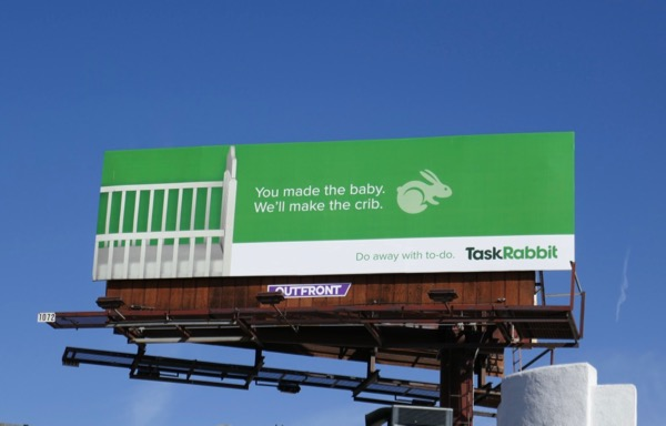 Task Rabbit baby crib billboard