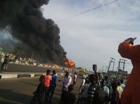 OMG!!! Driver, 3 Others Reportedly Dead After Tanker Explodes At Cele Bus Stop, Lagos (Photos)