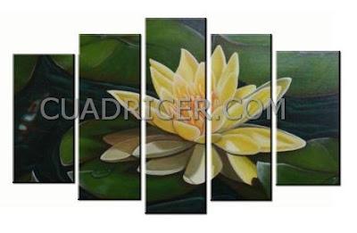 http://www.cuadricer.com/cuadros-pintados-a-mano-por-colores/cuadros-verdes-pistacho-manzana/nenufar-amarillo-flor-loto-espiritual-feng-shui-cuadros-modernos-2257-salones-comedores.html