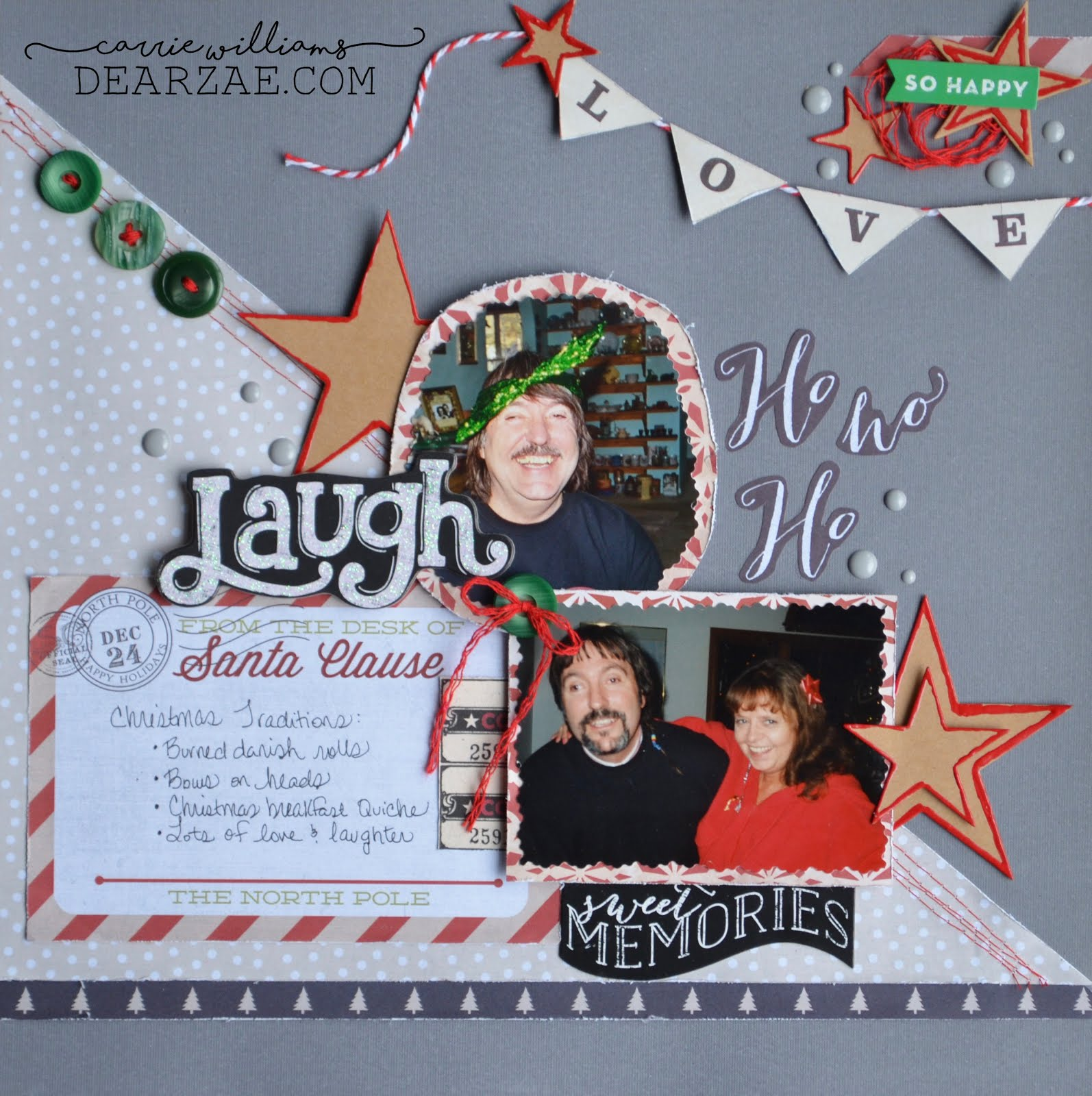 "Christmas holiday scrapbook layout page for Scrap Our Stash Sketch Challenge. Gray, beige, black, white, red, and kraft, with chipboard, banner, enamel dots, ""gingerbread"" stars, polka dots, and buttons"