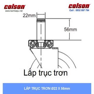kích thước Bánh xe cao su chống tĩnh điện Colson Mỹ trục trơn phi 125 (5 inch) sử dụng ổ bi www.banhxepu.net