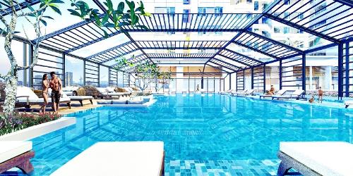 Bể bơi được thiết kế đẹp và có những góc view thoáng