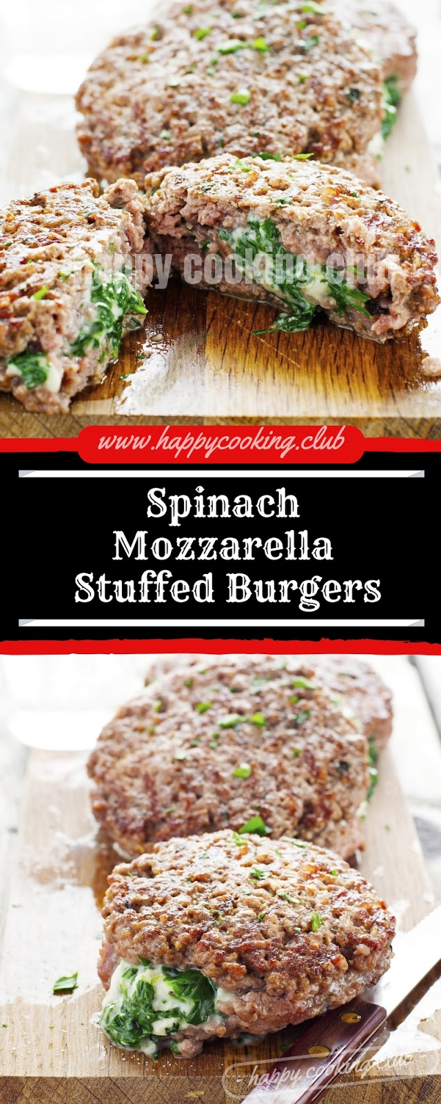 Spinach Mozzarella Stuffed Burgers