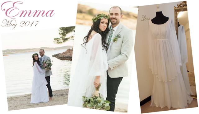 Our beautiful destination bride in a stunning original 1970s vintage bohemian bridal gown