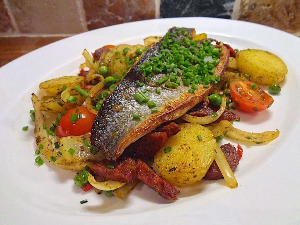 Sea Bass with Sauté Potatoes, Chorizo, Fennel & Onion
