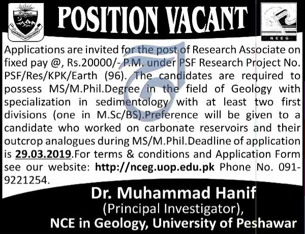 Geology Jobs in University Of Peshawar