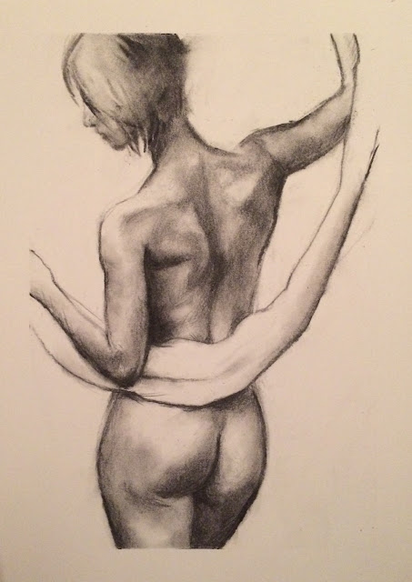 charcoal, drawing, figure study, figure sketch, female nude, figure drawing