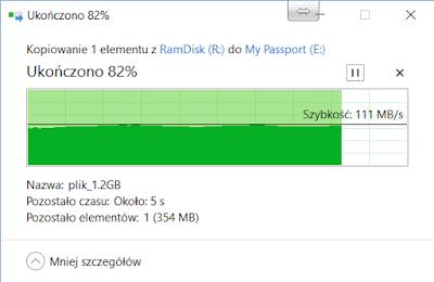Kopiowanie 2GB pliku z ramdysku do dysku WD