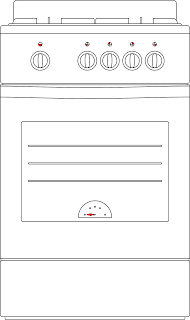 Gas Range with Oven Vector Graphics Image