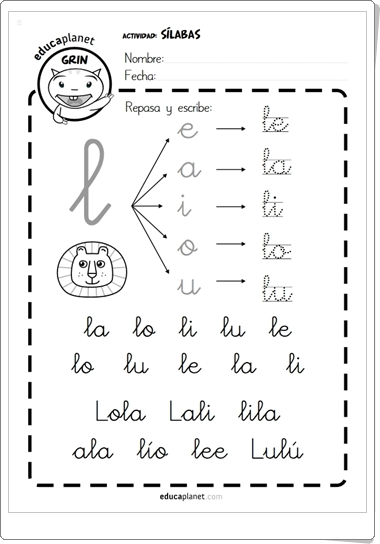 """Cartilla de lectura de sílabas directas"" de Educaplanet (Lengua Española de Primaria)"