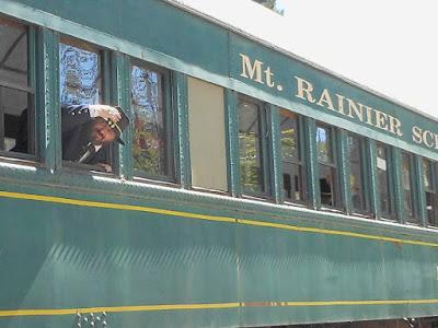 General Grant Reenactor on Train, Mt. Rainier Scenic Railroad 2016