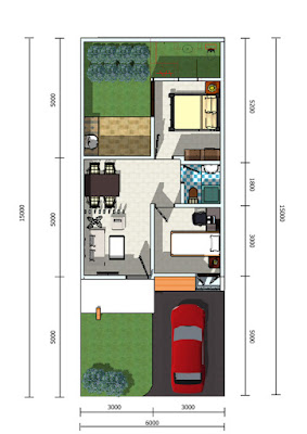 Minimalist design drawing house plan type 45