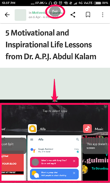 Tap on the Second app to activate split screen