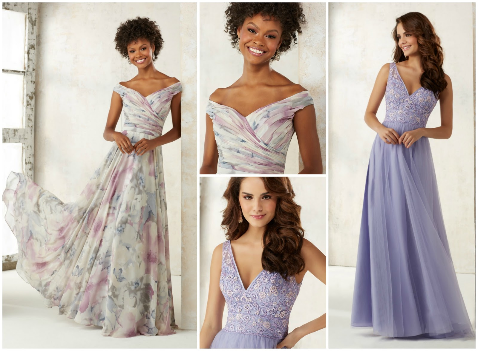 Many Of The Bridesmaid Dresses In This Collection Are Made With Chiffon A Fl Print Design Covering Entire Gown