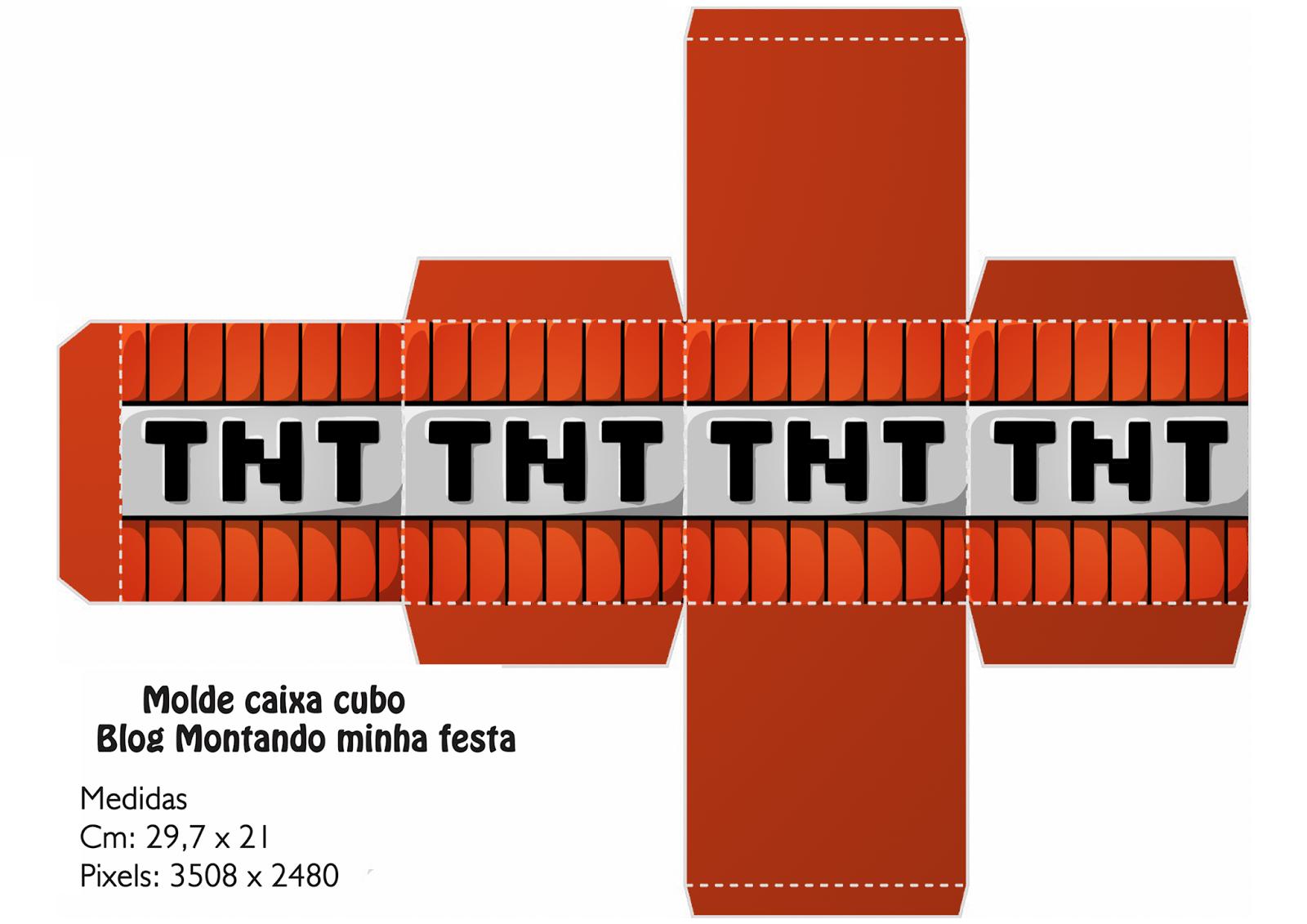 Letras Minegraft Fazendo A Nossa Festa: Caixa Cubo 3d Minecraft Grátis