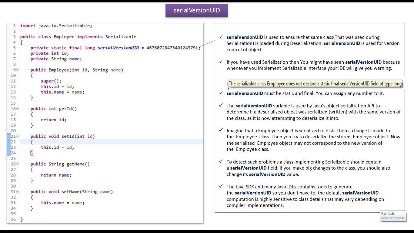 JAVA EE: Java Tutorial : Java IO (Java Serialization