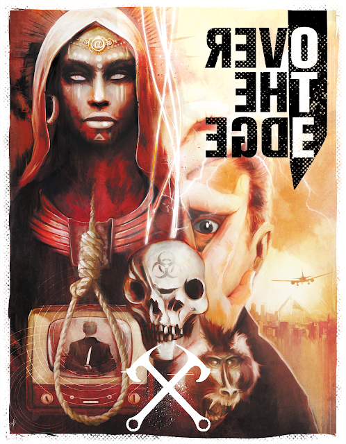 The Over the Edge cover with a woman in a head covering and face paint, a television showing an image of a man holding a knife behind his back, a morphed skull, a baboon, a person covering their face all but their eyes, and a plane flying off into the distance.