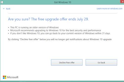 Upgrade Windows 10 Sebelum 29 Juli 2016