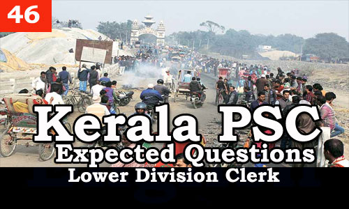 Kerala PSC - Expected/Model Questions for LD Clerk - 46