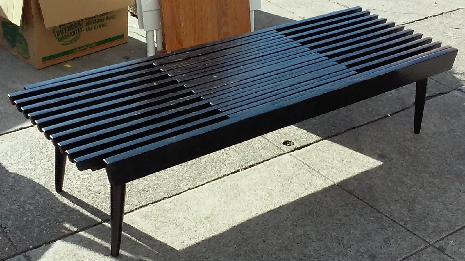 Uhuru Furniture Collectibles Sold Mid Century Modern Slat Wood Bench Coffee Table 90