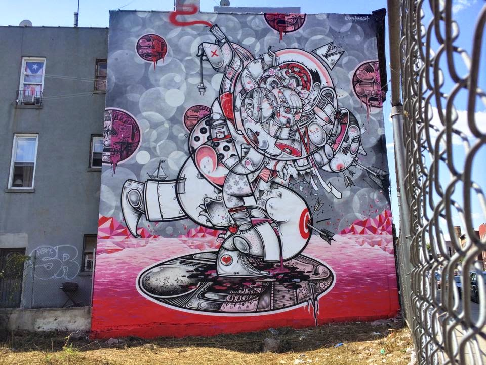 How Nosm are back at it on the streets of New York City where they just finished working on this new piece in Bushwick, Brooklyn.