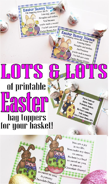 These printable Easter bag toppers are the perfect addition to your Easter basket this year.  They make simple and sweet gifts for everyone on your list, including your kids, Sunday School class, friends, co-workers, neighbors, and surprise Easter baskets. #easter #easterprintable #bagtopper #diypartymomblog