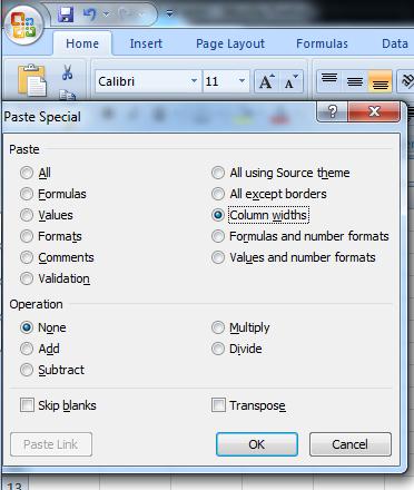 Memilih Column width pada paste special microsoft excel
