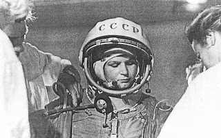 Valentina Tereshkova prima del lancio.