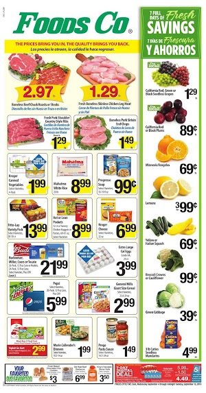 Foods Co Weekly Specials September 4 - 10, 2019