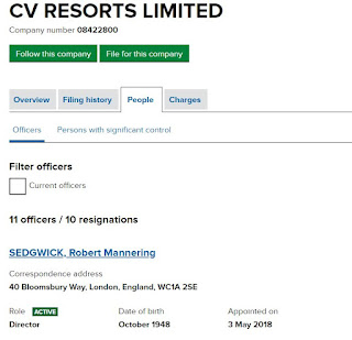 The only director of CV Resorts is Robert Mannering Sedgewick