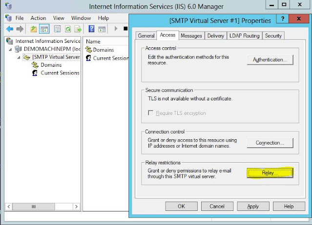 IIS6.0 Manager –> SMTP Virtual Server Properties –> Go to Access tab-> Click on Relay button