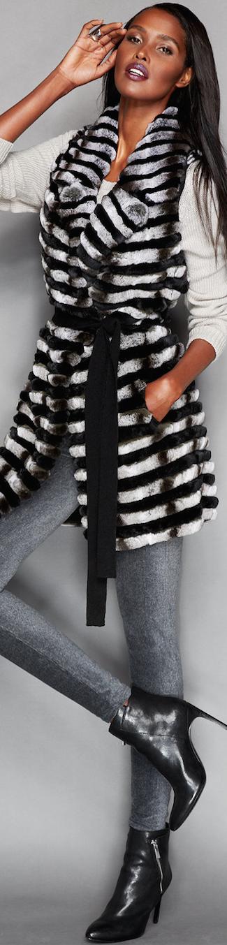 The Fur Vault Rabbit Fur Belted Vest
