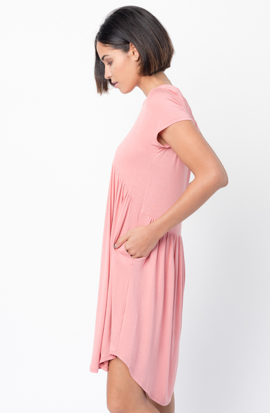 Shop for Pink Tee tunic dress U Neck and a full skirt  Online - $44 - on caralase.com