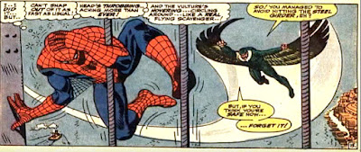 Amazing Spider-Man #48, john romita, spider man is dizzy, ill and close to defeat as blackie drago, the new vulture, closes in on him