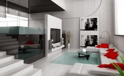 desain ruang tamu modern indah merah putih