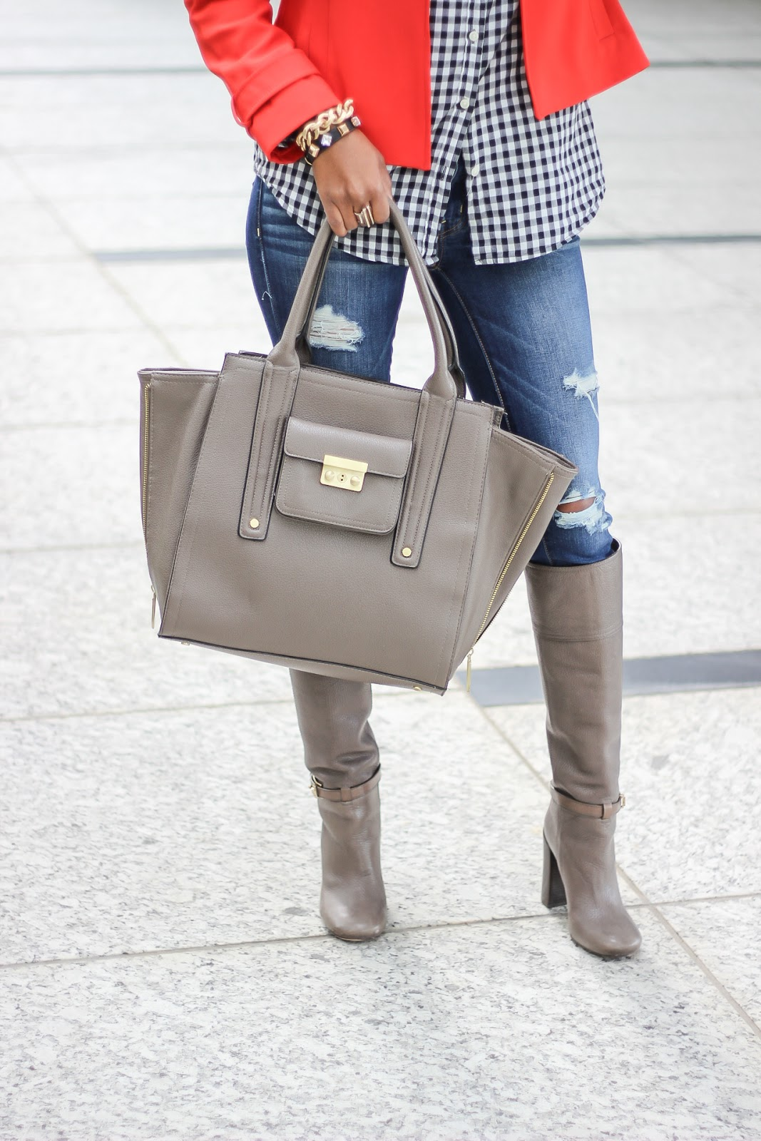 transitional fall outfit, knee boot outfit, how to wear boots, tory burch boots, 3.1 philip lim, look for less, fashion blogger, dallas fashion blogger, detroit fashion blogger, how to wear ripped jeans, american eagle ripped jeans, zara coat, j crew factory, casual fall outfit