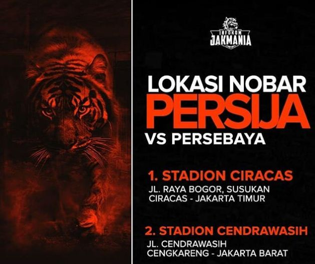 Lokasi Nobar Persija vs Persebaya Hanya di Ciracas dan Cengkareng