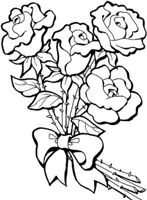 Sketsa Mewarnai Bunga Mawar Untuk Anak
