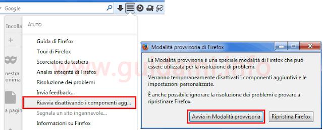 Voci menu per avviare Firefox in Modalità provvisoria