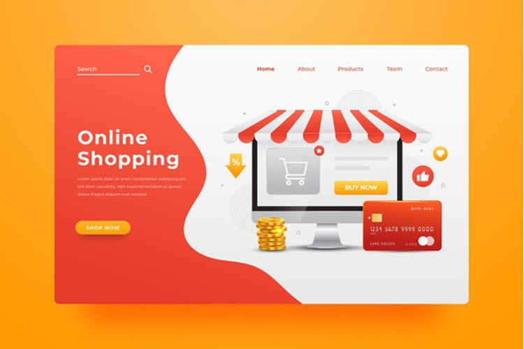 Download Wallpaper Realistic Online Shopping Landing Page Free Vector