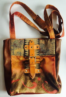 Brown Leather and Fabric Bag by Sandra Petit-Frère