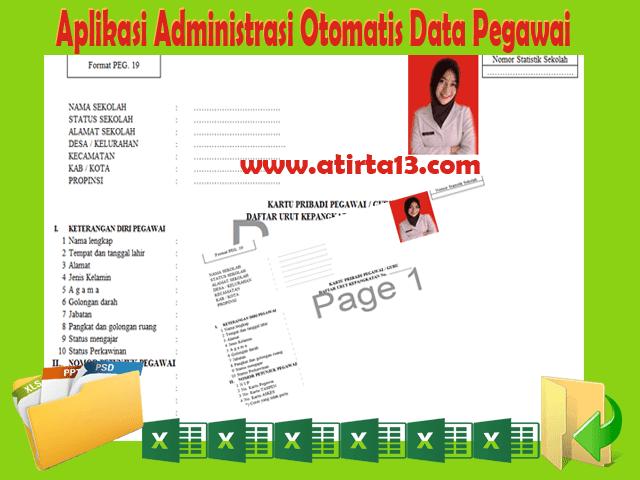 Aplikasi Administrasi Otomatis Data Pegawai, Guru dan Kepala Sekolah Format Excel