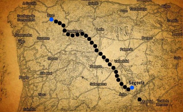 foto de mapa desde lugo a segovia