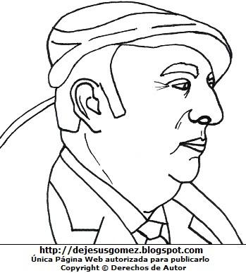 Dibujo de Pablo Neruda de perfil para colorear o pintar  (Pablo Neruda con gorro). Dibujo de Pablo Neruda de Jesus Gómez