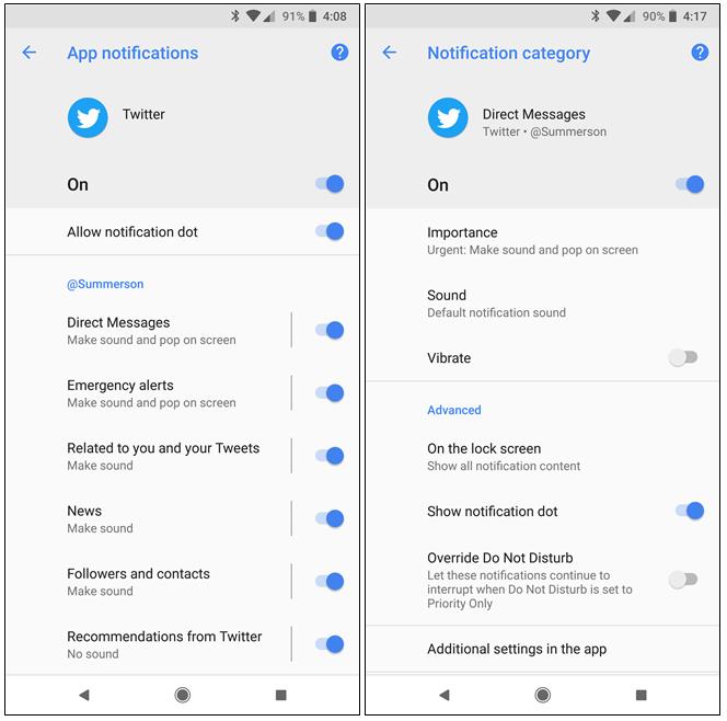 impostazione canali notifiche android