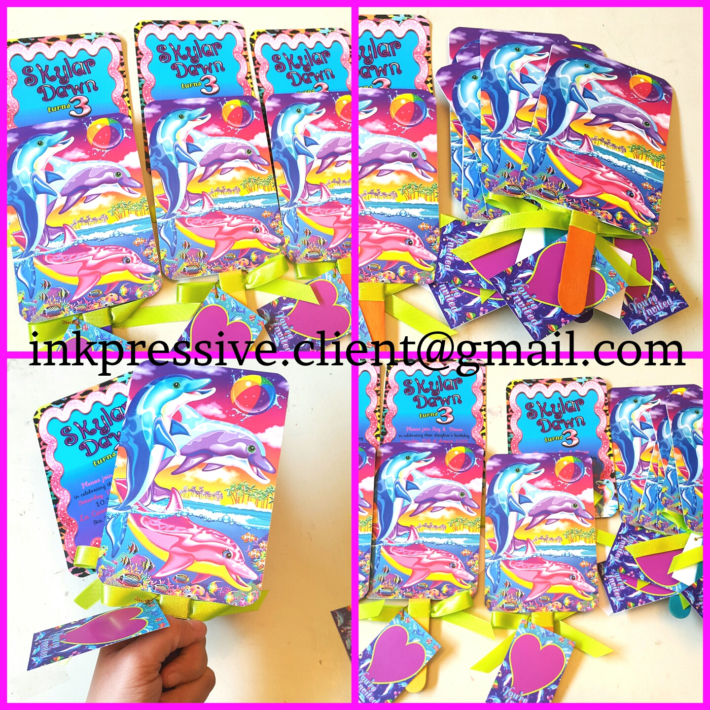 Paddle Fan Lisa Frank Dolphin Invitations